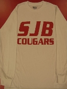 T-SHIRT - LONG Sleeved SJB COUGARS-White