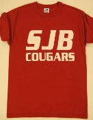 T-SHIRT - SHORT Sleeved SJB COUGARS-Red